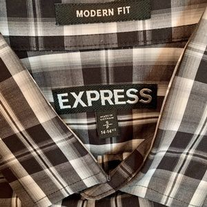 Express Modern Fit Plaid Dress Shirt